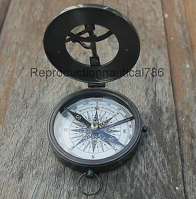 Nautical Antique Brass Sundial Style Compass Vintage Marine Working Compass