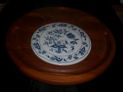 """Vintage DOLPHIN GENUINE TEAKWOOD CHEESE SERVING 12"""" ROUND TRAY W/6"""" BLUE TILE"""