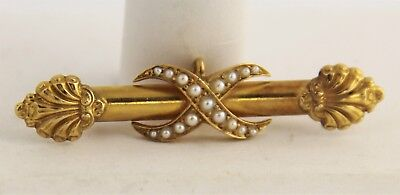 ESTATE Jewelry 14 kt YELLOW GOLD & SEED PEARL WATCH FOB PIN HALLMARKED - 4.6 gr