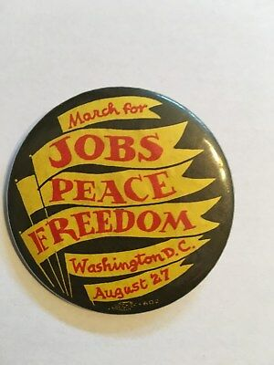 Vintage March for Jobs, Peace, Freedom, Washington, Aug 27-pinback button-1983