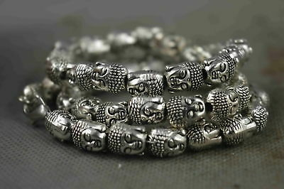 Collectable Handwork Old Miao Silver Carve Buddha Head Exorcism Fashion Necklace