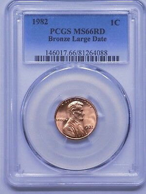 1982 Bronze Large Date Lincoln Cent, PCGS MS66 RED, VERY NICE!!
