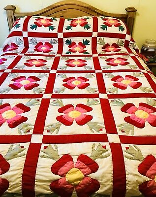 Vintage Completely Handmade Hand-Sewn Rose of Sharon Applique QUILT