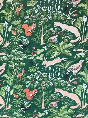 Vintage Upholstery Fabric Woodland Forest Animals Birds Bugs Rabbit Green