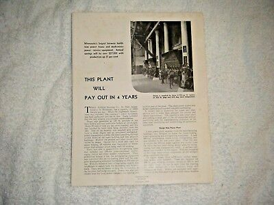 Theodore Hamm Brewing Power plant article November 1934 reprint