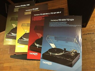 4 Original Thorens Turntable Brochures/Cut Sheets TD 520 521 280 320 321 318 316