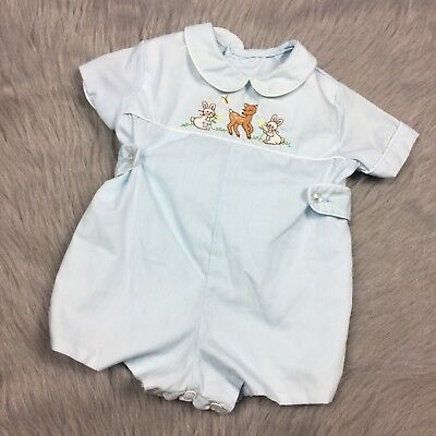 Vintage Baby Boys Toddle Tyke Blue Deer Bunny Embroidered Romper