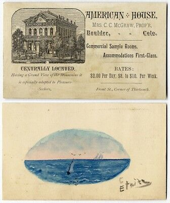 Boulder CO AMERICAN HOUSE Hotel 1880's Business Trade Card Watercolor on Back