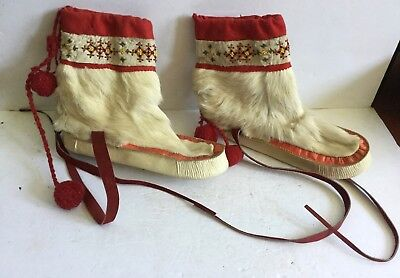 Early Pair of Inuit Eskimo Mukluks Beaded Boots  - Old Estate