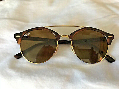 8fb357e3a97fce Ray-Ban Clubround Double Bridge Sunglasses RB4346 990 33 Tort frame Bronze  lens