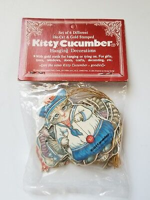 Kitty Cucumber Hanging Decorations Set of 6 NIP, 1983