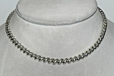 """Sterling Silver Fancy Link Necklace Italy 925 16"""""""