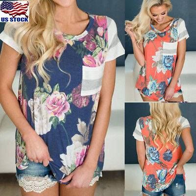 Summer Women Casual Floral Front Pocket Holiday Short Sleeve T-shirt Tops Blouse
