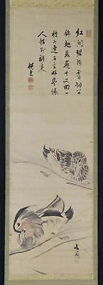 "JAPANESE HANGING SCROLL ART Painting ""Ducks"" Buncho's seal Asian antique  #E2552"