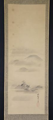JAPANESE HANGING SCROLL ART Painting Scenery  Kano School Asian antique  #E2556