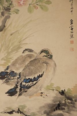"JAPANESE HANGING SCROLL ART Painting ""Ducks"" Asian antique  #E2527"