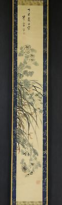 "JAPANESE HANGING SCROLL ART Painting ""Flowers"" Asian antique  #E2553"