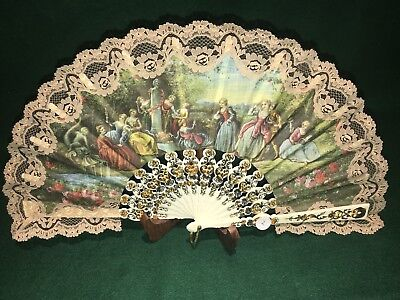 Antique 1800s Victorian Hand Fan Signed A Dols