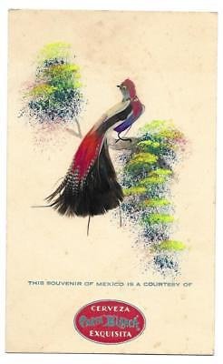 Vintage Advertising Card - Carta Blanca Mexican Beer - Real Feathered Bird front
