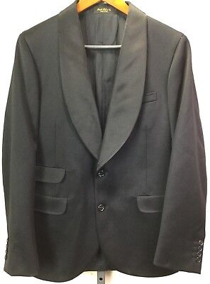 RRL Ralph Lauren Tailoring 40R Black Wool Satin Tuxedo Jacket Shawl Two Button
