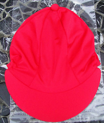 Lycra Riding Hat Silk skull cap cover PLAIN RED with or without POMPOM