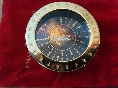 Coca cola Solid Brass Around the World Time Zone Clock, Magnifier & Paperweight