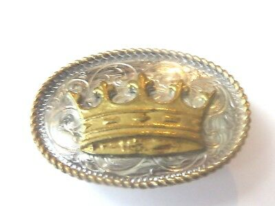 Silver with Gold Tone Crown  Western Lapel Pin Pinback