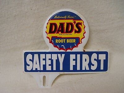 Dad's Root Beer Soda Safety First Convex Metal Advertising License Plate Topper