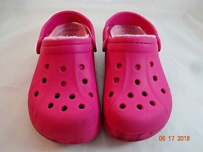 c60cd95df8ab Crocs Kids Size 1-3 Jr Sandals Shoes Fuchsia Hot Pink Youth Girls Mammoth  Fleece