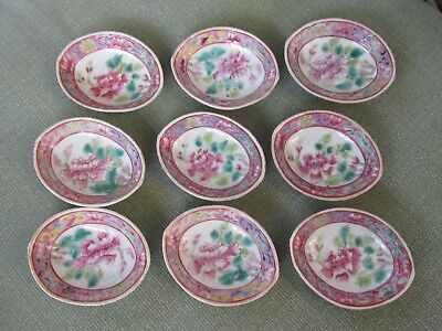 Antique 19th Century Set of 9 Chinese Small Floral Dishes GUANGXU Mark