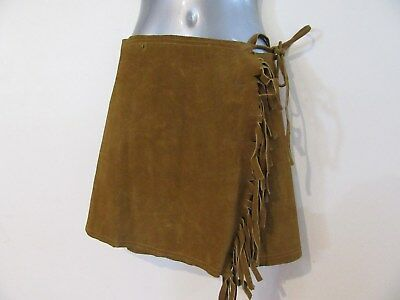 VINTAGE Heavy Tan Brown Suede Leather Wrap Around Skirt Navajo Indian S