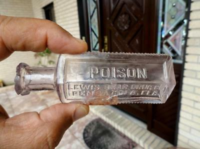 LEWIS BEAR DRUG CO Small Poison Bottle PENSACOLA, FLORIDA FLA late 1800's #1