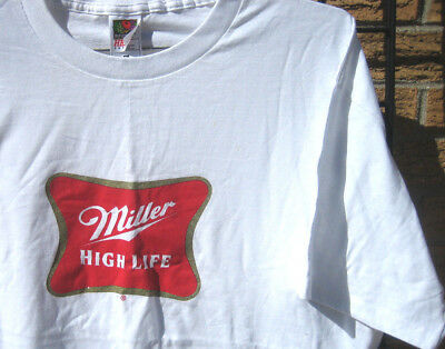 new MILLER HIGH LIFE T-shirt (XL) *FLAW*  miller lite Beer MHL camping fishing