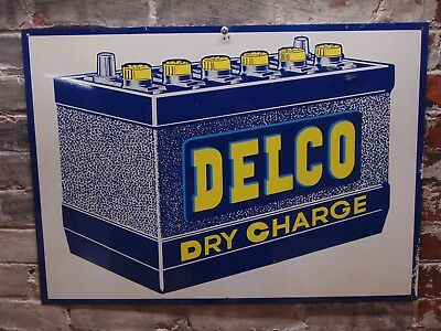 Vintage ~ Delco Dry Charge Battery ~ Advertising Sign ~ Free Shipping