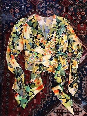 Stunning 1930s 1940s 40s 30s Vintage Art Deco Silk Floral Belted Blouse