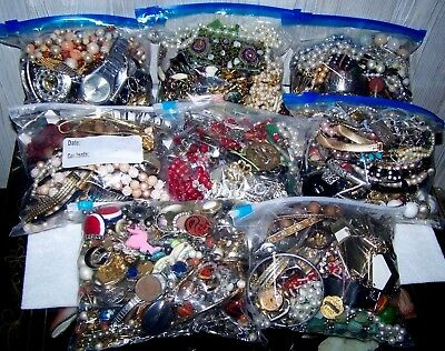 Vintage Huge Lot Costume Jewelry 22 LBS. Necklaces, Bracelets, rings, & more