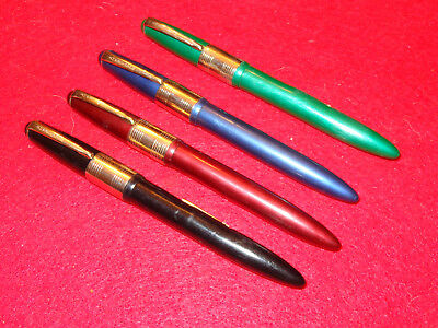 Lot of 4 Vintage AMERICAN Fountain Pens RED BLUE BLACK GREEN  UN-INKED (16)