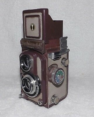 YASHICA-44 TLR 127 Film Camera with Yashikor 1:3.5 f=60mm Lens Gray & Brown