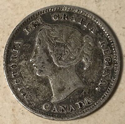 1893 Canada 5 Cents silver foreign coin good condition high book value