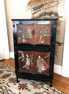 Vtg Oriental Chinese Black Lacquer Cabinet~Lady/Birds/Landscape~53""