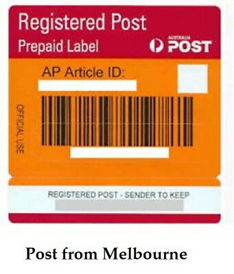 50  x   Australia Post Registered Post Prepaid Labels with Tracking Signature