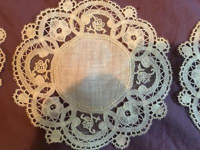 8 PIECE ANTIQUE BRUSSELS DUCHESS POINT de GAZE ROSE BOBBIN LACE COASTERS DOILIES