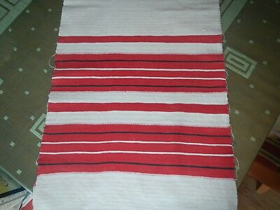 """ANTIQUE 1800's HOMESPUN WOVEN TOWEL RED & BLACK STRIPES 81"""" BY 16"""" FRENCH STYLE"""
