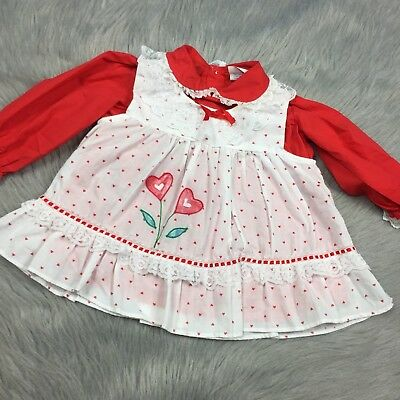 Vintage Baby Girls Red White Ruffle 2 Piece Pinafore Heart Dress *Read