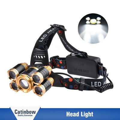 5-LED 80000LM Rechargeable Zoom LED 18650 Headlamp Torch Charger Head Light US
