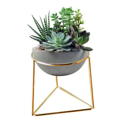 Flower Pot & Geometric Metal Rack Plant Care Display Holder Stand Garden Decor