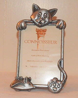 Pewter Kitty Cat 3.5 x 5 Picture Photo Frame Silver Tone mouse