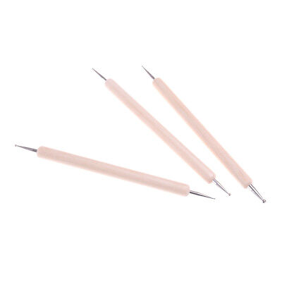 3x Ball Styluses Tool Set For Embossing Pattern Clay Sculpting HT