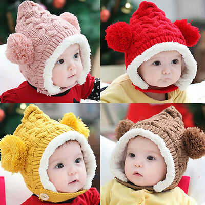 Baby Girl Boy Toddler Winter Warm Knitted Beanie Cap Earmuffs Ball Hat Conve