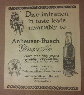 1923 Anheuser Busch Ginger Ale Ad St Louis, Missouri